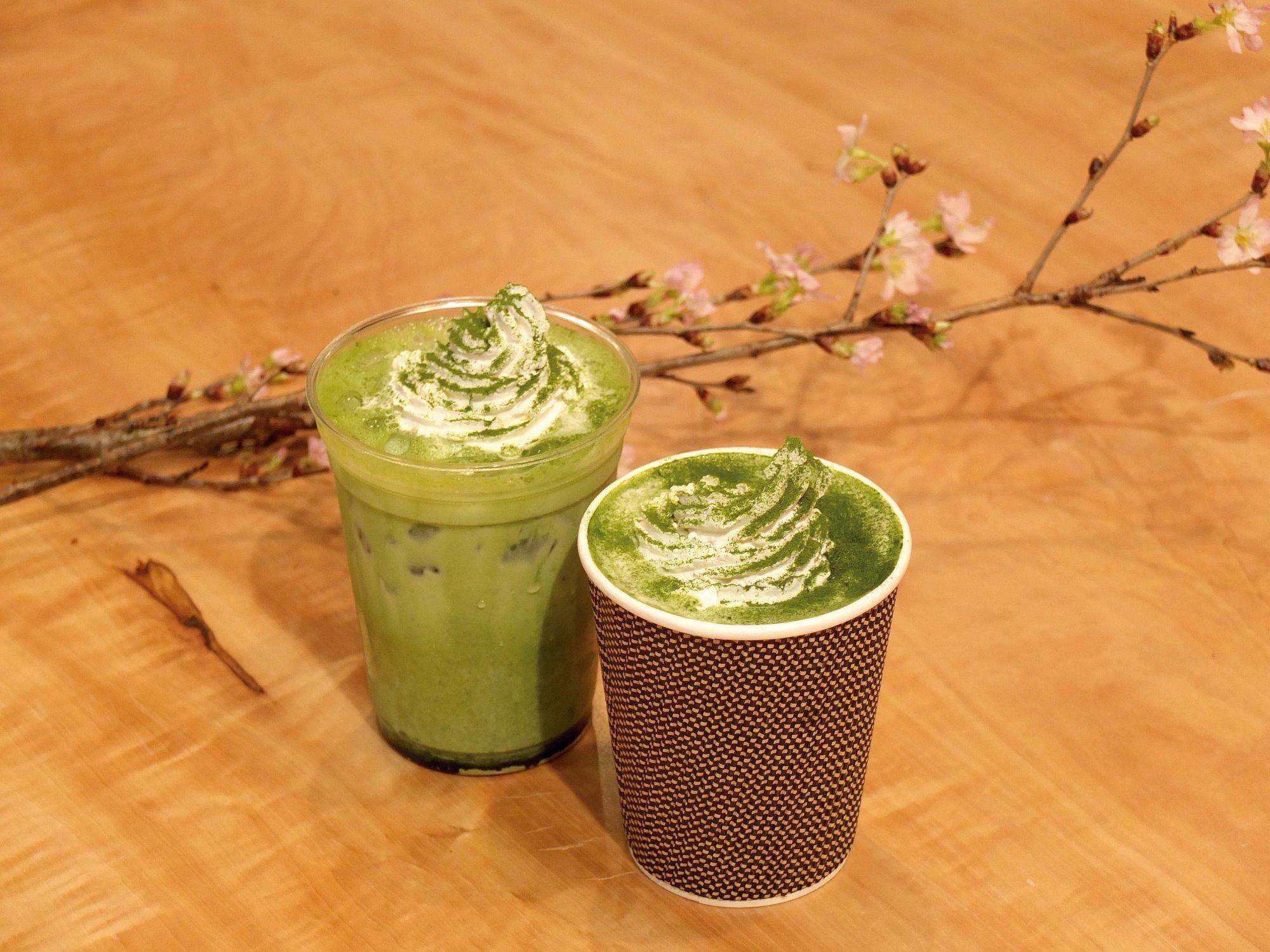 カフェの期間限定メニュー 「抹茶ラテ」
